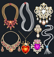set jewelry pendant with heart and crown vector image vector image
