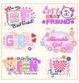 set of funny prints for clothes for girls vector image