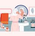 skincare routine cartoon woman washing face in vector image