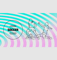 soccer player hits ball in tackle vector image vector image