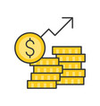 stack of gold coins and arrow rising inflation or vector image vector image