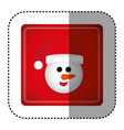 sticker colorful square frame with cartoon snowman vector image vector image
