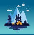 summer camp background with beautiful landscape vector image vector image