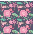 Summer Floral Pattern on Indigo Background vector image vector image