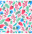 summer seamless pattern with strawberries flowers vector image