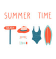 summer vacation set surfboard swimsuit vector image