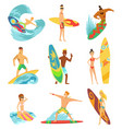 surfboarders riding on waves set surfer men with vector image vector image