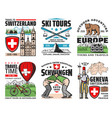 switzerland landmarks and culture icons vector image