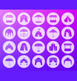 tent shape carved flat icons set vector image vector image
