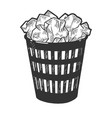 trash can with papers sketch engraving vector image vector image