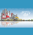 welcome to italy city skyline with gray buildings vector image