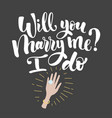 will you marry me lettering hand drawn vector image vector image