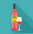 wine bottle and wine glass with red wine flat vector image