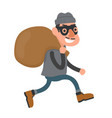 happy smiling thief robber runs with a bag vector image
