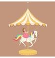 woman girl riding horse carousel cartoon flat vector image