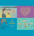 greeting cards set valentine day vector image