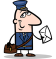 postman with letter cartoon vector image