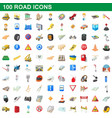 100 road icons set cartoon style vector image