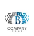 abstract b letter data tech logo design b letter vector image