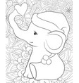 adult coloring bookpage a cute cartoon elephant vector image