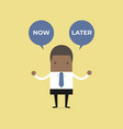 african businessman with now or later balloon vector image vector image