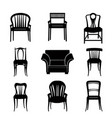 armchair chair set retro silhouette furniture sign vector image vector image