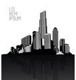 black and white cityscape with skyscrapers vector image