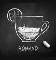 black and white sketch coffee romano vector image vector image