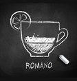 black and white sketch of coffee romano vector image vector image