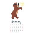 brown bear grizzly calendar vector image vector image