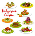 bulgarian cuisine meat dishes with veggies cheese vector image vector image