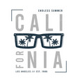 california t-shirt design with sunglasses and palm vector image vector image