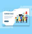 cartoon garage sale concept landing web page vector image vector image