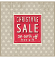christmas background and label with sale offer vector image vector image