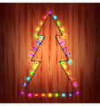 Christmas lights as fir tree holiday concept vector image