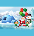 christmas scene with santa and elves vector image vector image