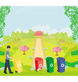 Colorful recycle bins ecology concept with vector image vector image