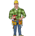 construction worker with tools vector image vector image