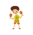 cute boy playing maracas little musician vector image vector image