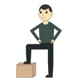 delivery man cartoon character and delivery vector image vector image