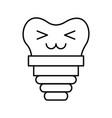 dental implant kawaii character vector image vector image