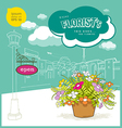 Enjoy florist flower and sketching building vector image vector image