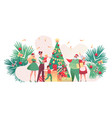 flat family near christmas tree together vector image vector image