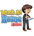 font design for work from home with man working vector image