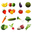 fruit and vegetable icons vector image vector image