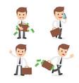 funny cartoon businessman with briefcase vector image