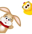 Funny Easter rabbit and yellow chicken