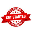 get started ribbon get started round red sign get vector image vector image