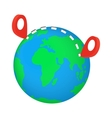 Globe earth with red pointer marks vector image