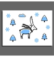 Greeting card with deer in scarf vector image vector image